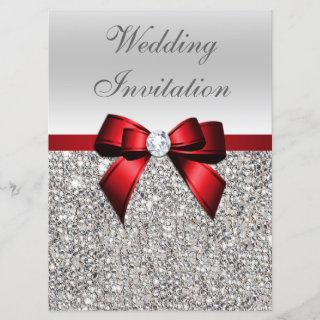Large Wedding Faux Silver Sequins Red Bow