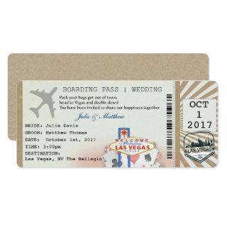 Las Vegas Boarding Pass Ticket Wedding Invitation