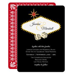 Las Vegas Marquee Wedding in Black 2 Invitation