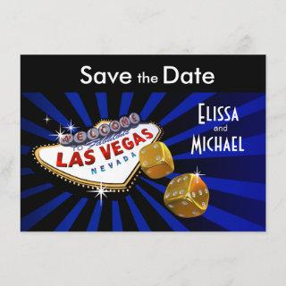 Las Vegas Starburst Save the Date royal blue black