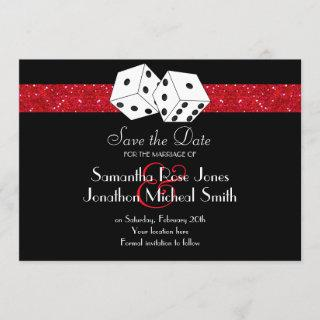 Las Vegas Theme Save the Date Red Faux Glitter