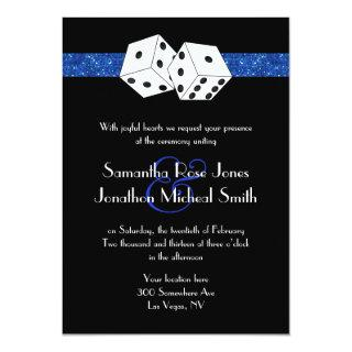 Las Vegas Wedding Dice Royal Blue Faux Glitter Invitations