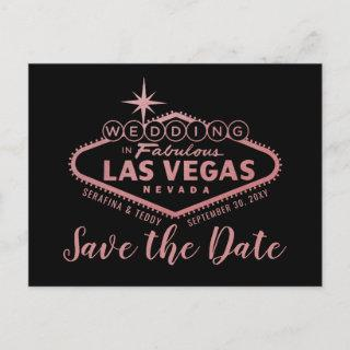 Las Vegas Wedding Rose Gold Save the Date Announcement Postcard