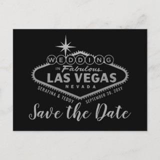 Las Vegas Wedding Silver and Red Save the Date Announcement Postcard