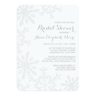 Laser Cut Silver Snowflakes Winter Bridal Shower Invitation