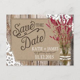 Lavender and Lace Rustic Wood Planks Save the Date Announcement Postcard