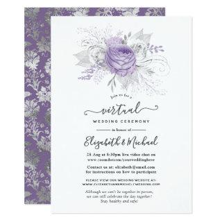 Lavender and Silver Floral Virtual Wedding Invitation