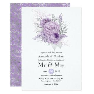 Lavender and Silver Floral Wedding Invitations