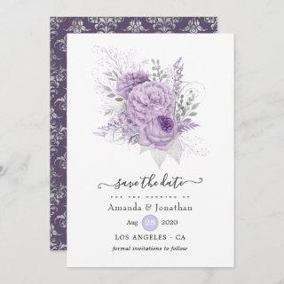 Lavender and Silver Floral Wedding Save The Date