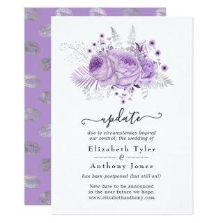 Lavender and Silver Floral Wedding Update Invitations