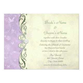 Lavender and Soft Yellow Floral Spring  Wedding Invitation