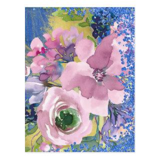 Lavender Blues Watercolor Floral Save the Date Postcard