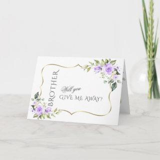 Lavender Flowers Gold Will You Give Me Away Invitations