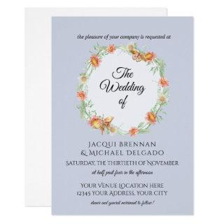 Lavender n Coral Butterfly Floral Wreath Wedding Invitation