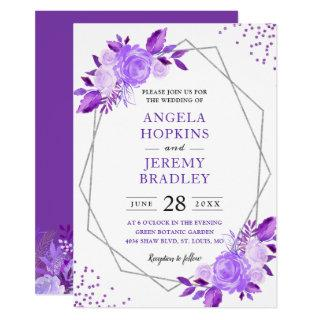 Lavender Purple Floral Modern Silver Frame Wedding Invitations