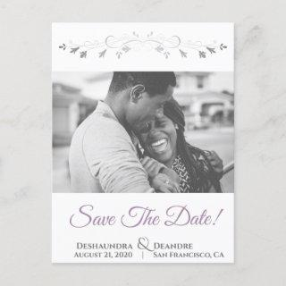 Lavender Purple & Gray Wedding Save the Date Holiday Postcard