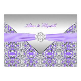 Lavender Purple Lace Diamond Ribbon Wedding Invitation