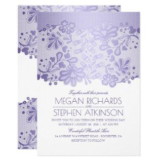 Lavender Purple Lace Elegant Vintage White Wedding Invitations