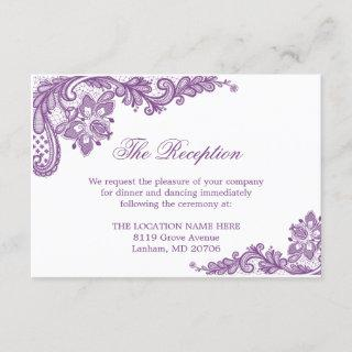 Lavender Purple Lace Wedding Information Details Enclosure Card