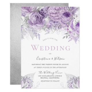 Lavender Purple Silver floral Wedding Invitation