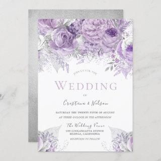 Lavender Purple Silver floral Wedding Invitations
