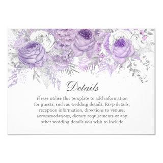 Lavender Purple Silver Flower Wedding Details Invitation