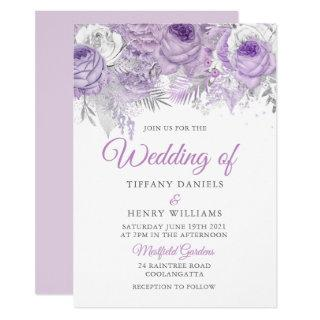 Lavender Purple Sparkle Floral Wedding Invite