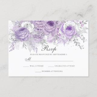 Lavender Purple White Silver Flower Wedding RSVP