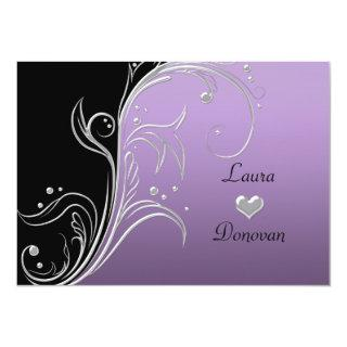 Lavender Silver Black Floral Swirls Reception Only Invitation