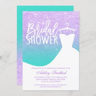 Lavender turquoise mermaid dress Bridal shower Invitations
