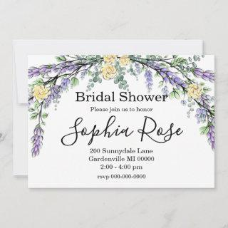 Lavender Yellow Rose and Eucalyptus Invitation