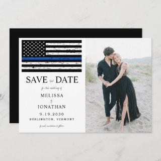 Law Enforcement Police Blue Line Wedding Photo Save The Date