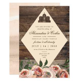 LDS TEMPLE SEALING CARD | Rustic Wood Blush Floral