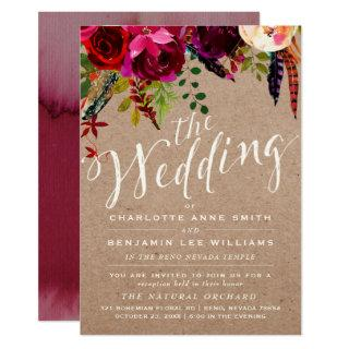 LDS WEDDING Invitations | Elegant Floral Rustic