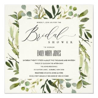 LEAFY GREEN GOLD FOLIAGE WATERCOLOR BRIDAL SHOWER Invitations