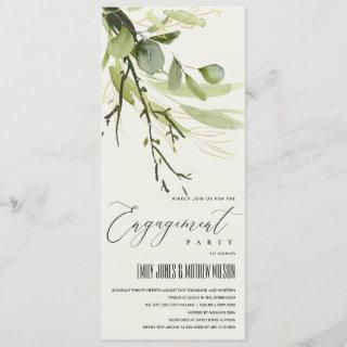 LEAFY GREEN GOLD FOLIAGE WATERCOLOR ENGAGEMENT INVITATION