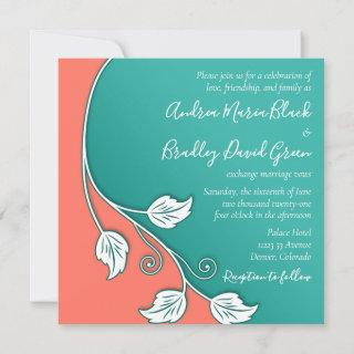 Leafy Vine Turquoise, Coral White Wedding Invitations
