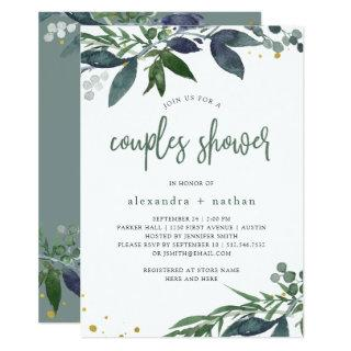 Leafy Watercolor | Couples Shower Invitations