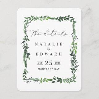 leafy watercolor foliage details card