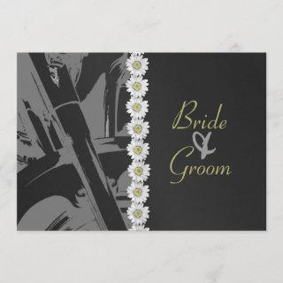 Leather and Daisies Wedding Invitation