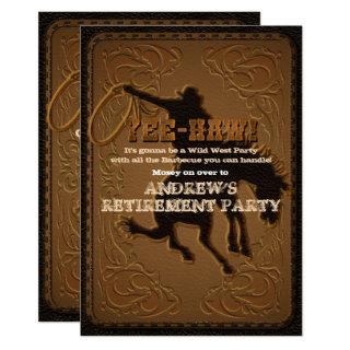 Leather Western Wild West Cowboy Retirement Party Invitations