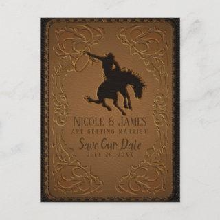 Leather Western Wild West Cowboy Save The Date Announcement Postcard