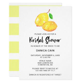 Lemon Bridal Shower Elegant Minimalist simple Invitations