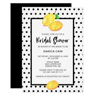 Lemon Bridal Shower Hand Lettering Polka Dots Invitation
