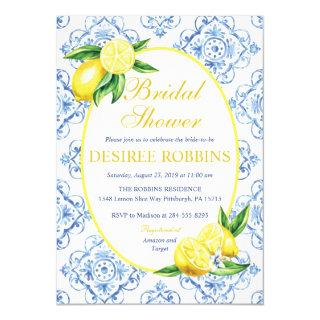 Lemon Bridal Shower Invitations, Blue Tile Italian Invitations
