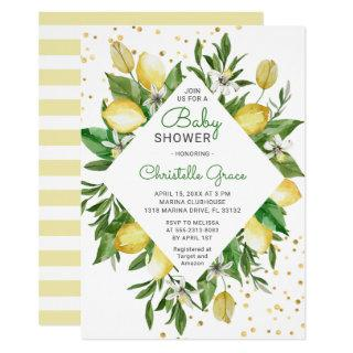 Lemon Citrus Italy Gender Neutral Chic Baby Shower Invitation