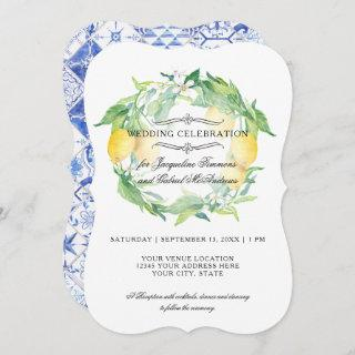 Lemon Floral Citrus Foliage Rustic Blue White Tile Invitations
