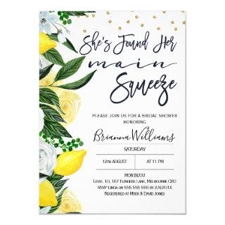 Lemon Floral Main Squeeze Bridal Shower Invitations