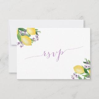 Lemons with Purple Flowers Meal Choice Reply RSVP Card