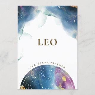 Leo Table Sign Celestial Watercolor Theme Card